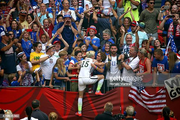 Megan Rapinoe of the United States of America celebrates with fans after their 5-2 over Japan in the FIFA Women's World Cup Canada 2015 Final at BC...