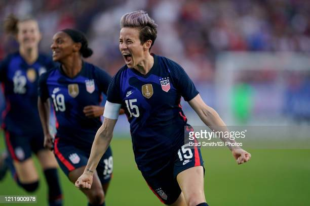 Megan Rapinoe of the United States scores a goal and celebrates during a game between Japan and USWNT at Toyota Stadium on March 11, 2020 in Frisco,...