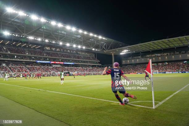 Megan Rapinoe of the United States takes a corner kick against Nigeria during a WNT Summer Series game at Q2 Stadium on June 16, 2021 in Austin,...
