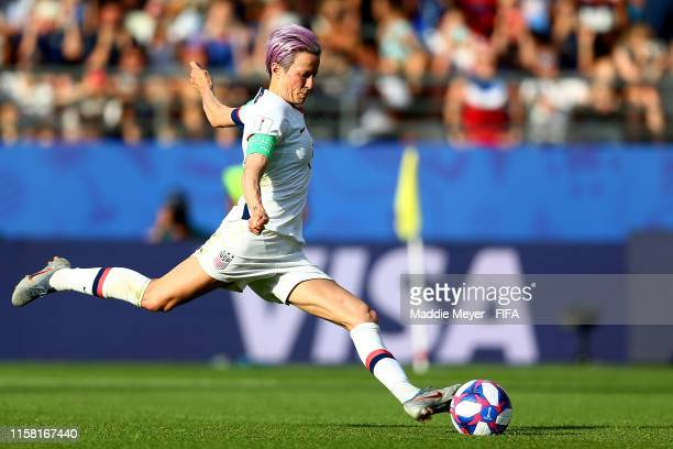 Megan Rapinoe of the United States takes a penalty kick during the 2019 FIFA Women's World Cup France Round Of 16 match between Spain and USA at...