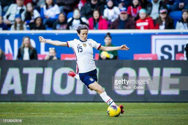 Megan Rapinoe of the United States takes the shot on goal during the 1st half of the 2020 SheBelieves Cup match between United States and Spain...