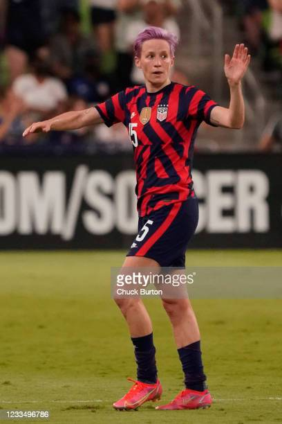 Megan Rapinoe of the United States waves to fans as she is substituted during the second half of their WNT Summer Series game against Nigeria at Q2...