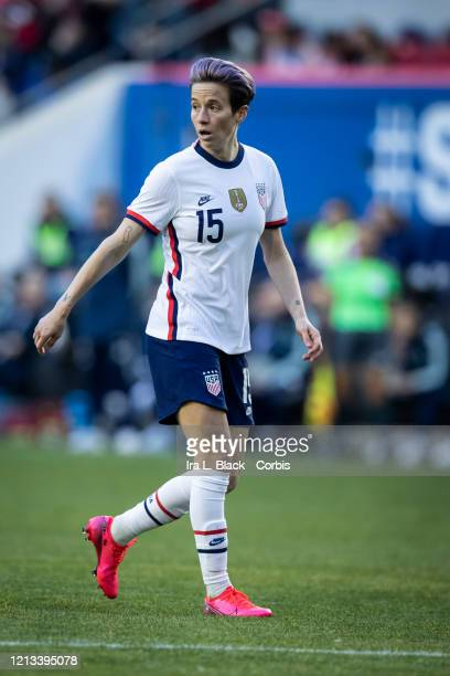 Megan Rapinoe of the United States with pink hair looks back during the 2nd half of the 2020 SheBelieves Cup match between United States and Spain...