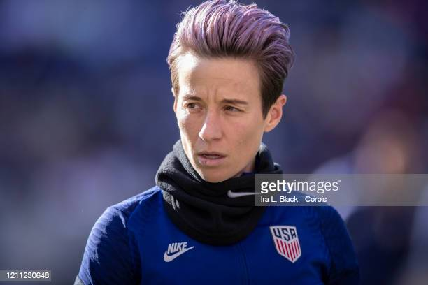 Megan Rapinoe of the United States with pink hair warms up for the 2020 SheBelieves Cup match between United States and Spain sponsored by Visa. The...