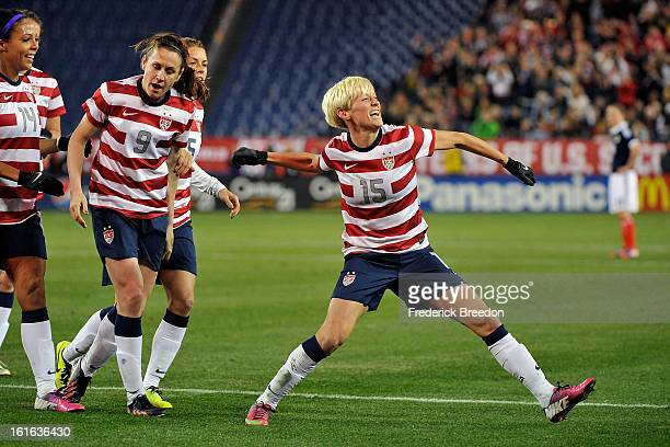 Megan Rapinoe of the US Womens National Team celebrates after scoring a goal against Scotland at LP Field on February 13 2013 in Nashville Tennessee