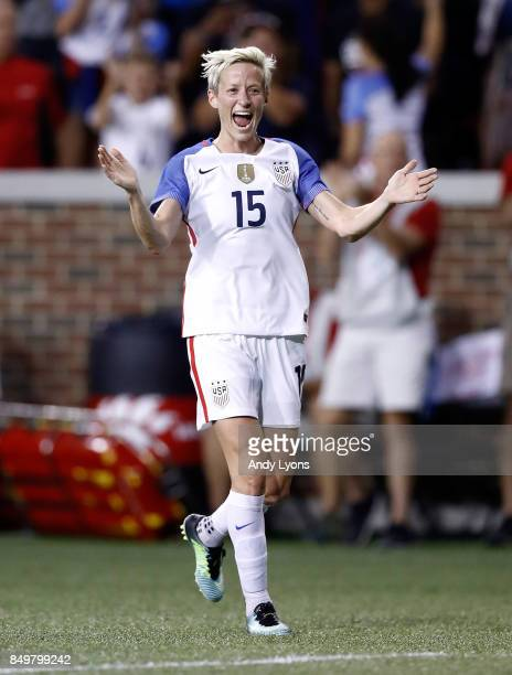 Megan Rapinoe of the USA celebrate after a goal in the first half of the match against New Zealand at Nippert Stadium on September 19 2017 in...