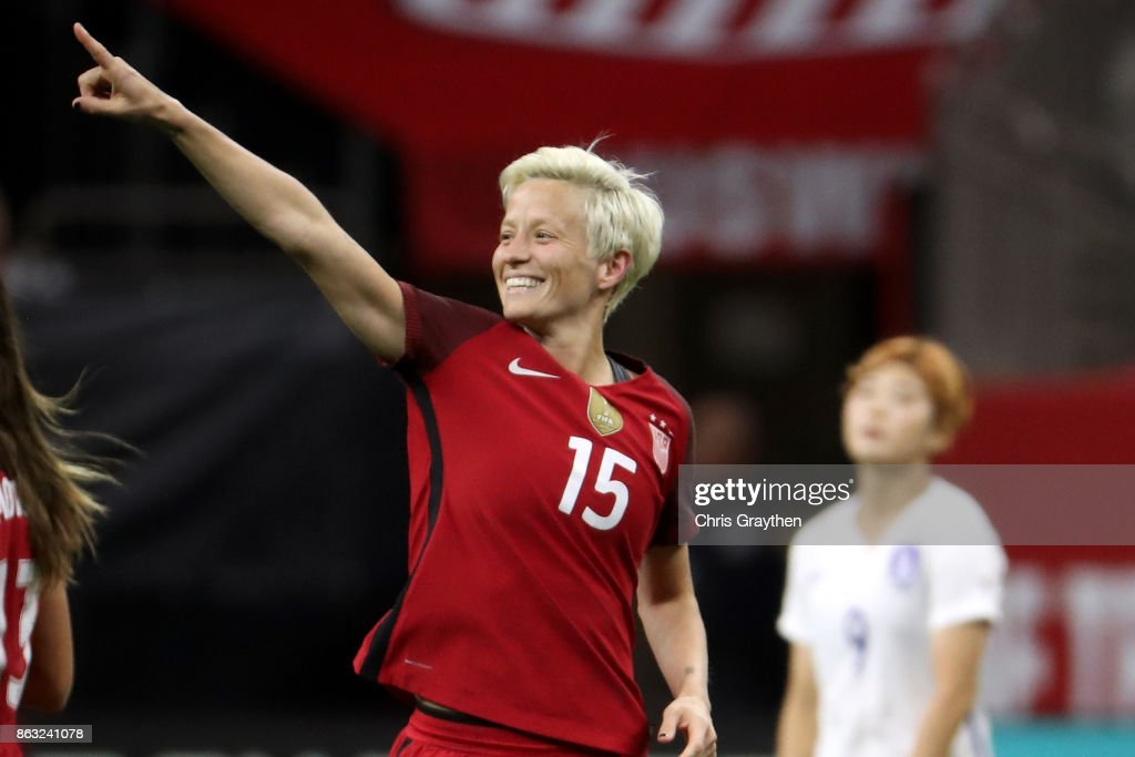 Megan Rapinoe #15 of the USA celebrates after scoring a goal against the Korea Republic at the Mercedes-Benz Superdome on October 19, 2017 in New Orleans, Louisiana.