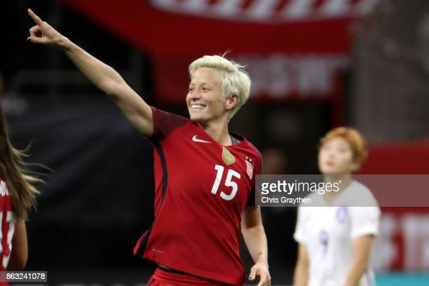 Megan Rapinoe of the USA celebrates after scoring a goal against the Korea Republic at the Mercedes-Benz Superdome on October 19, 2017 in New...
