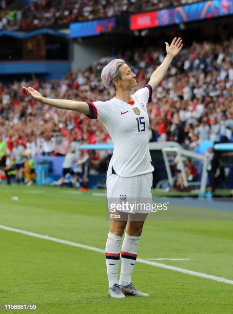 Megan Rapinoe of the USA celebrates after scoring her team's first goal during the 2019 FIFA Women's World Cup France Quarter Final match between...