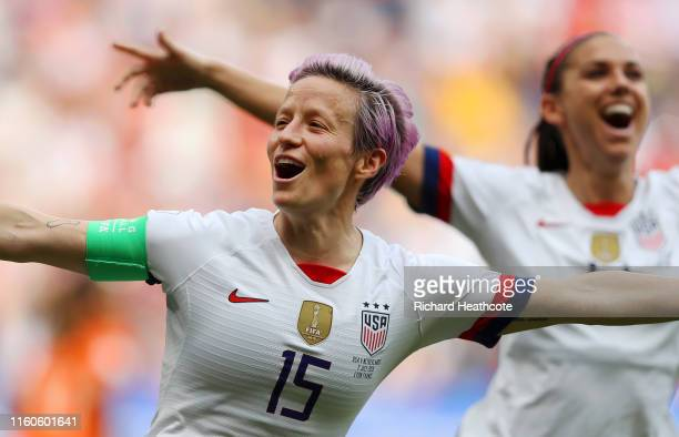 Megan Rapinoe of the USA celebrates after scoring her team's first goal during the 2019 FIFA Women's World Cup France Final match between The United...