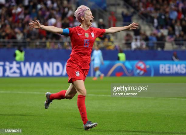 Megan Rapinoe of the USA celebrates after scoring her team's ninth goal during the 2019 FIFA Women's World Cup France group F match between USA and...