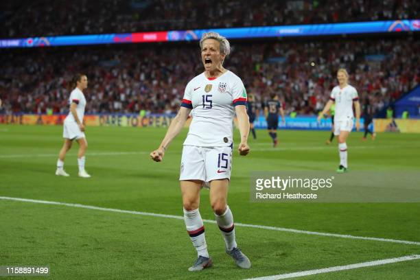Megan Rapinoe of the USA celebrates after scoring her team's second goal during the 2019 FIFA Women's World Cup France Quarter Final match between...