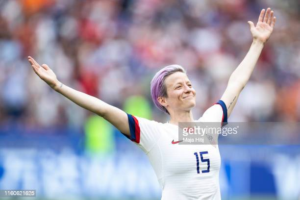 Megan Rapinoe of the USA celebrates following her sides victory in the 2019 FIFA Women's World Cup France Final match between The United States of...