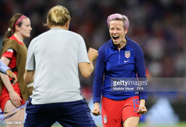 Megan Rapinoe of the USA celebrates following victory in the 2019 FIFA Women's World Cup France Semi Final match between England and USA at Stade de...