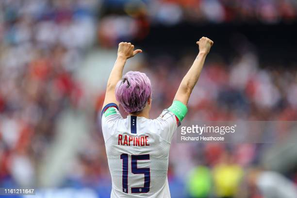 Megan Rapinoe of the USA celebrates scoring the first goal from the penalty spot during the 2019 FIFA Women's World Cup France Final match between...