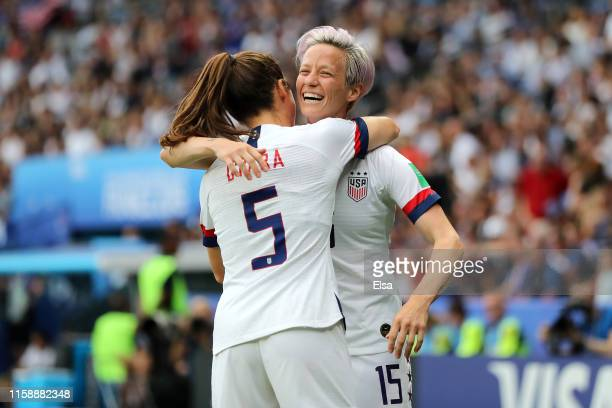 Megan Rapinoe of the USA celebrates with teammate Kelley O'hara after scoring her team's first goal during the 2019 FIFA Women's World Cup France...