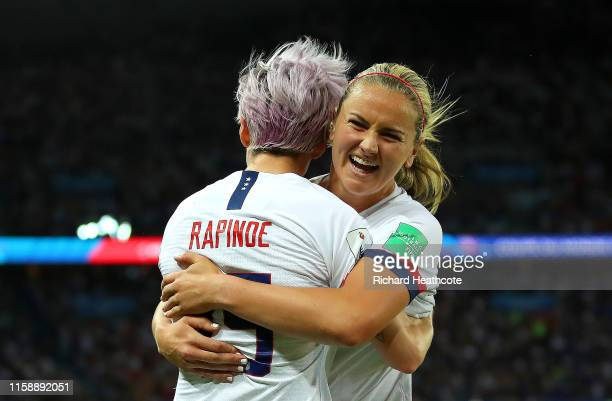 Megan Rapinoe of the USA celebrates with teammate Lindsey Horan after scoring her team's second goal during the 2019 FIFA Women's World Cup France...