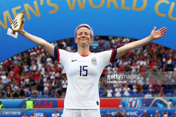 Megan Rapinoe of the USA celebrates with the Golden Boot after the 2019 FIFA Women's World Cup France Final match between The United State of America...