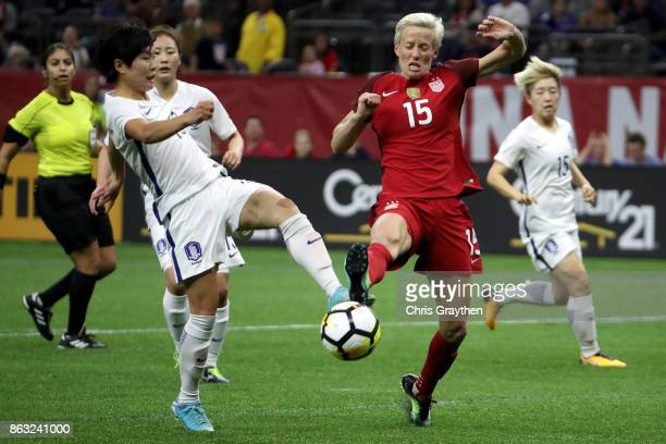 Megan Rapinoe of the USA is fouled by Soyun Ji of the Korea Republic at the Mercedes-Benz Superdome on October 19, 2017 in New Orleans, Louisiana.