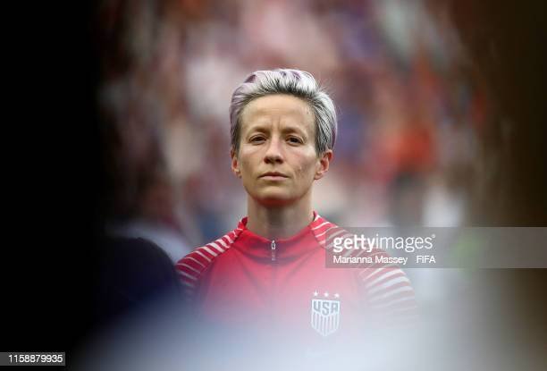 Megan Rapinoe of the USA looks on during the national anthem prior to the 2019 FIFA Women's World Cup France Quarter Final match between France and...