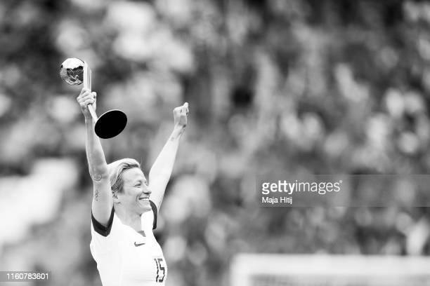 Megan Rapinoe of the USA poses with the Golden Ball trophy after the 2019 FIFA Women's World Cup France Final match between The United States of...