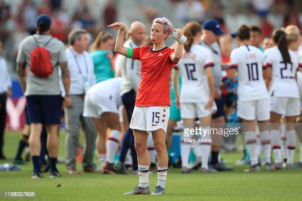 Megan Rapinoe of the USA reacts after the 2019 FIFA Women's World Cup France Round Of 16 match between Spain and USA at Stade Auguste Delaune on June...