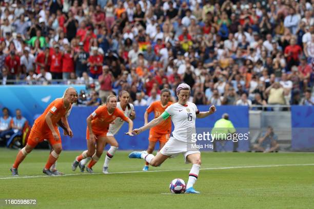 Megan Rapinoe of the USA scores her team's first goal from the penalty spot during the 2019 FIFA Women's World Cup France Final match between The...