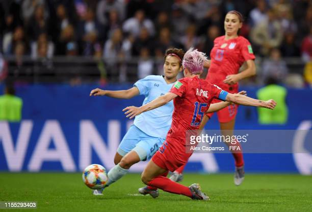 Megan Rapinoe of the USA scores her team's ninth goal during the 2019 FIFA Women's World Cup France group F match between USA and Thailand at Stade...