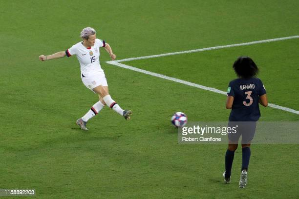 Megan Rapinoe of the USA scores her team's second goal during the 2019 FIFA Women's World Cup France Quarter Final match between France and USA at...
