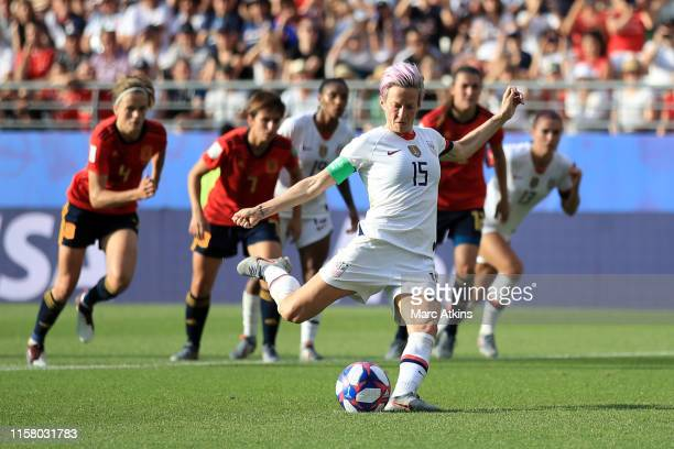 Megan Rapinoe of the USA scores her team's second goal from the penalty spot during the 2019 FIFA Women's World Cup France Round Of 16 match between...