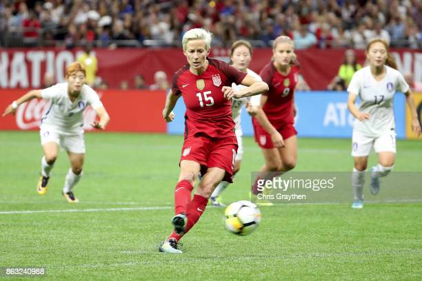 Megan Rapinoe of the USA scores on a penalty kick against the Korea Republic at the Mercedes-Benz Superdome on October 19, 2017 in New Orleans,...