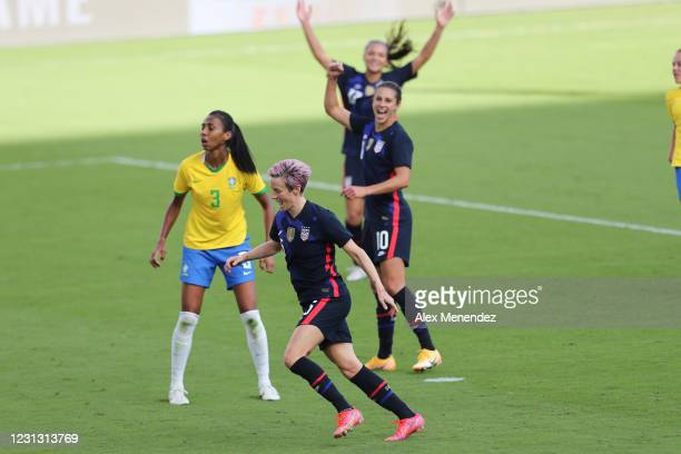 Megan Rapinoe of United States celebrates her goal in front of Bruna Benites of Brazil during the second half of the SheBelieves Cup at Exploria...