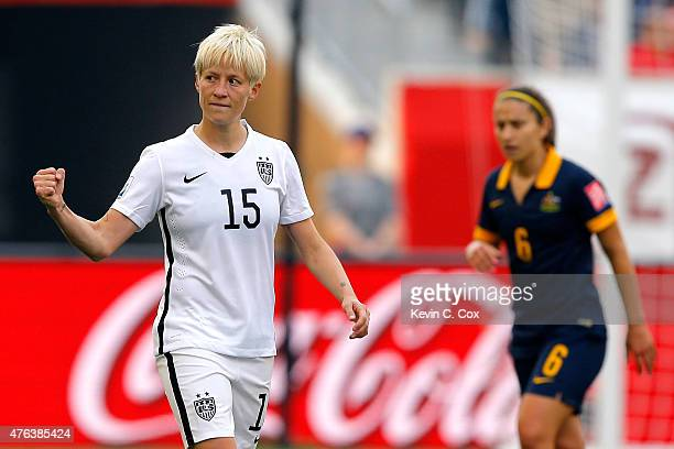 Megan Rapinoe of United States celebrates her opening goal against Australia in the first half during the FIFA Women's World Cup 2015 Group D match...