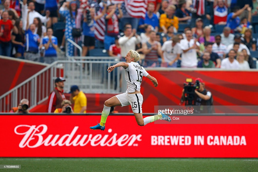 Megan Rapinoe #15 of United States celebrates her opening goal against Australia in the first half during the FIFA Women's World Cup 2015 Group D match at Winnipeg Stadium on June 8, 2015 in Winnipeg, Canada.