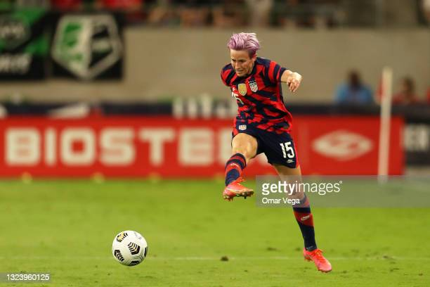 Megan Rapinoe of United States kicks the ball during the Summer Series game between United States and Nigeria at Q2 Stadium on June 16, 2021 in...