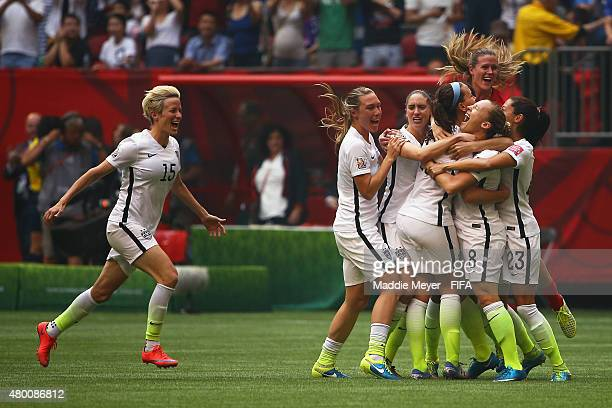 Megan Rapinoe of United States of America celebrates with her teammates after winning the FIFA Women's World Cup 2015 final match between USA and...