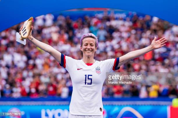 Megan Rapinoe of United States poses for phots with the Golden Boot during the 2019 FIFA Women's World Cup France Final match between The United...