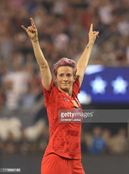 Megan Rapinoe of United States reacts after a goal by teammate Allie Long during their game against Korea Republic during their game at Bank of...