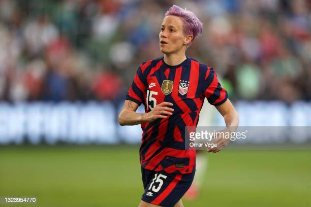 Megan Rapinoe of United States reacts during the Summer Series game between United States and Nigeria at Q2 Stadium on June 16, 2021 in Austin, Texas.