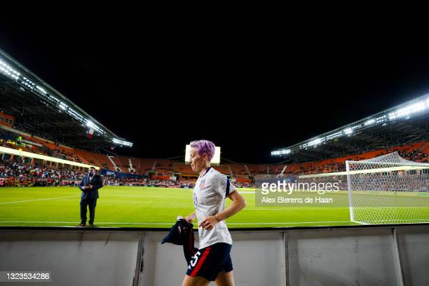 Megan Rapinoe of United States runs onto the field prior to the 2021 WNT Summer Series friendly between Jamaica and The United States at BBVA Stadium...