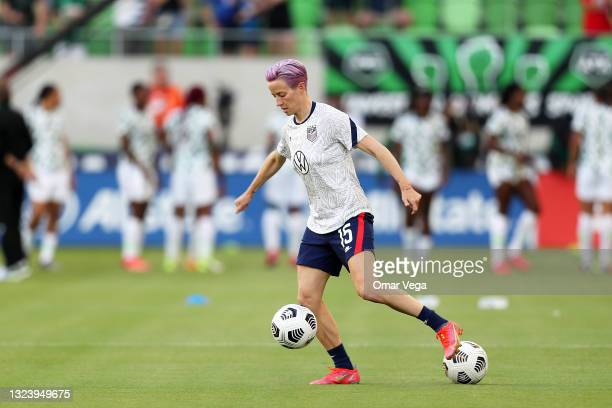 Megan Rapinoe of United States warms up prior to the Summer Series game between United States and Nigeria at Q2 Stadium on June 16, 2021 in Austin,...