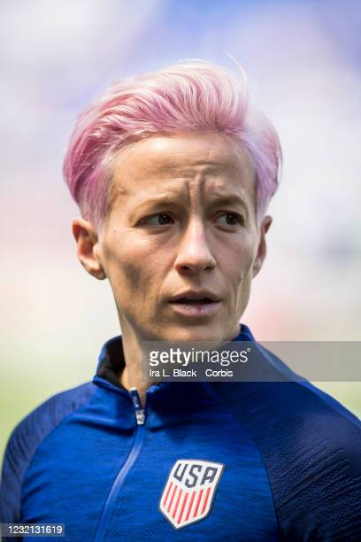 Megan Rapinoe of United States with the USA Logo on her warm up jersey before the 1st half of the International Friendly match the U.S. Women's...