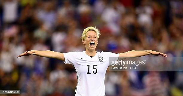 Megan Rapinoe of USA celebrates after winning the FIFA Women's World Cup 2015 Semi Final match between USA and Germany at Olympic Stadium on June 30...