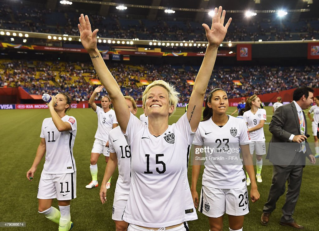 Megan Rapinoe of USA celebrates her team's win at the end of the FIFA Women's World Cup Semi Final match between USA and Germany at Olympic Stadium on June 30, 2015 in Montreal, Canada.