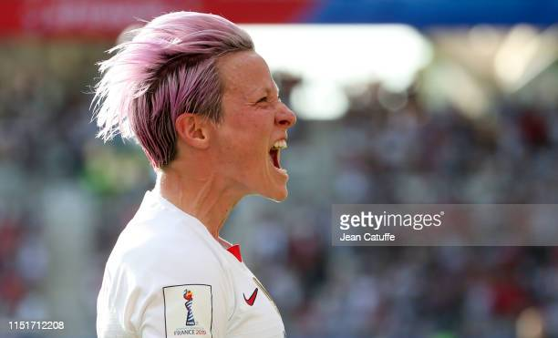Megan Rapinoe of USA celebrates her winning goal on a penalty kick during the 2019 FIFA Women's World Cup France Round Of 16 match between Spain and...