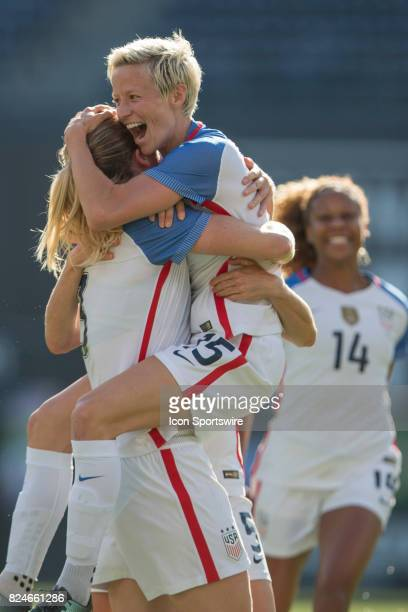 Megan Rapinoe of USA celebrates Samantha Mewis of USA goal during the Tournament of Nations soccer match between USA and Brazil on July 30 2017 at...