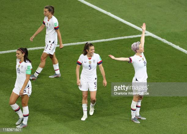 Megan Rapinoe of USA celebrates scoring their 2nd goal during the 2019 FIFA Women's World Cup France Quarter Final match between France and USA at...