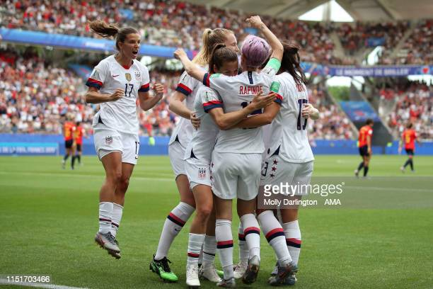 Megan Rapinoe of USA celebrates with team mates after scoring a goal which was a penalty to make it 01 during the 2019 FIFA Women's World Cup France...