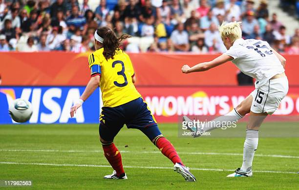 Megan Rapinoe of USA scores her team's second goal during the FIFA Women's World Cup 2011 Group C match between USA and Colombia at RheinNeckarArena...