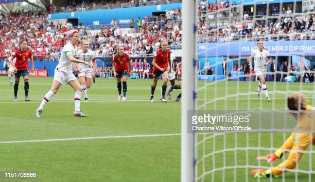 Megan Rapinoe of USA scores the opening goal from the penalty spot during the 2019 FIFA Women's World Cup France Round Of 16 match between Spain and...